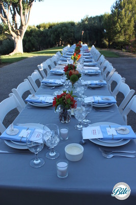 Banquet seating for plated meal at relaxed outdoor reception. Fresh flowers, lavender linens and printed menus completed the table setting