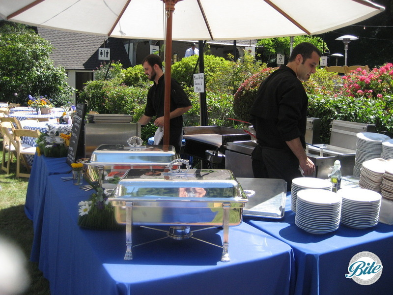 Buffet set up for picnic style outdoor reception