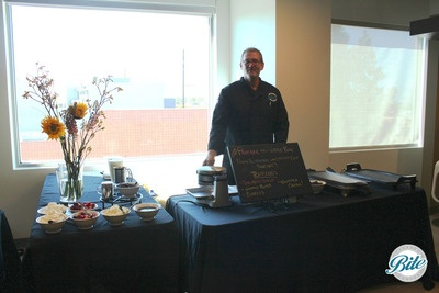 Pancake and waffle bar buffet station set up in client office for breakfast event