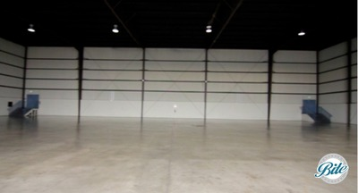 Undecorated interior view of Hangar 8 in Santa Monica