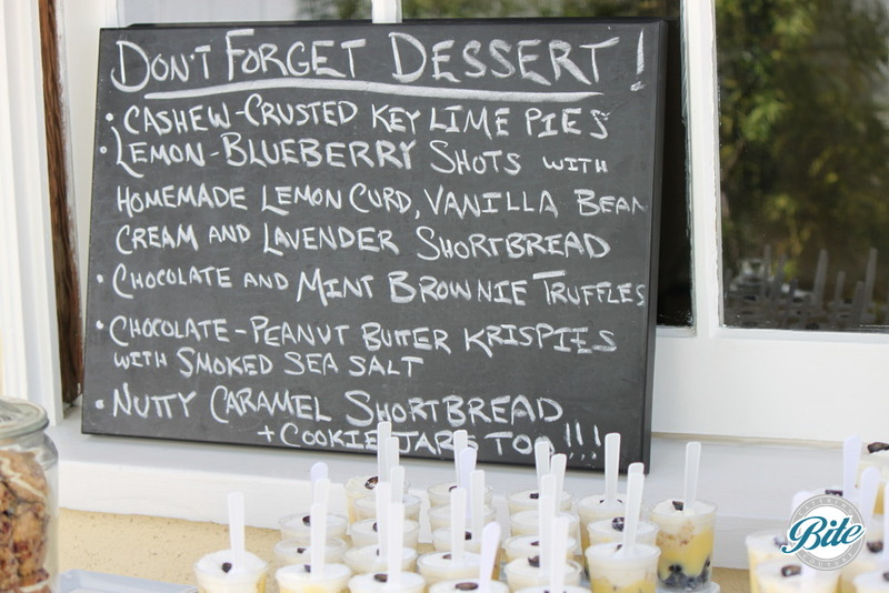 Chalkboard dessert station menu, including shortbreads, truffles, key lime pie