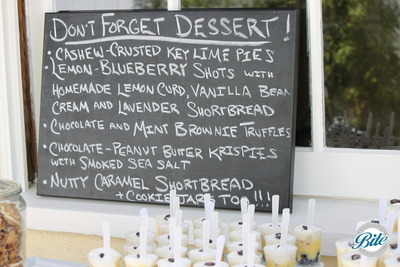 Chalkboard dessert station menu, including shortbreads, truffles, key lime pie