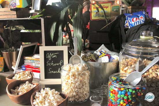 Back to school themed popcorn and candy bar
