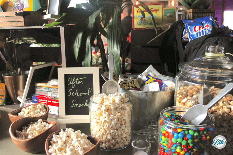 After school treat inspired popcorn and candy bar
