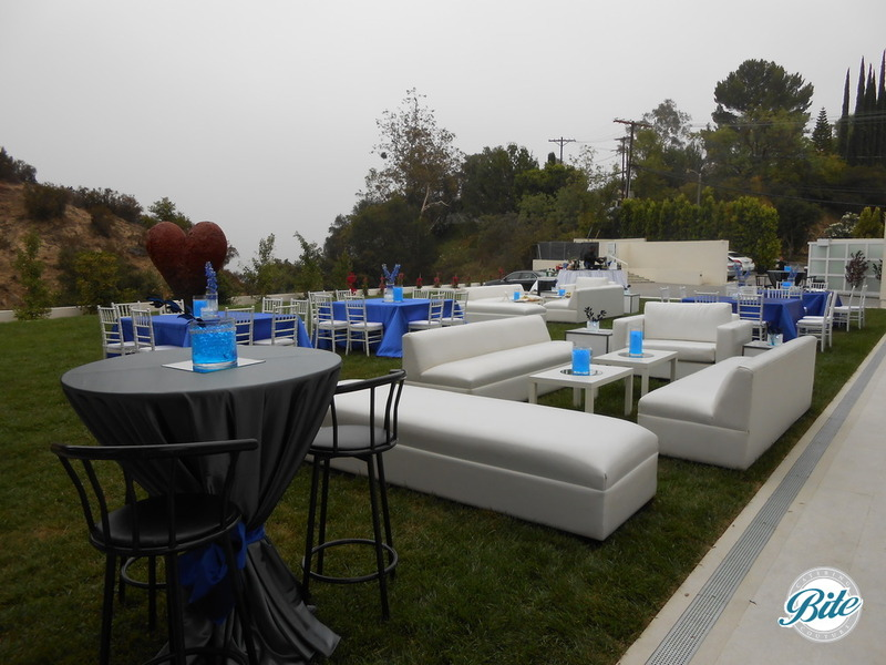 Sleek outdoor reception with modern decor