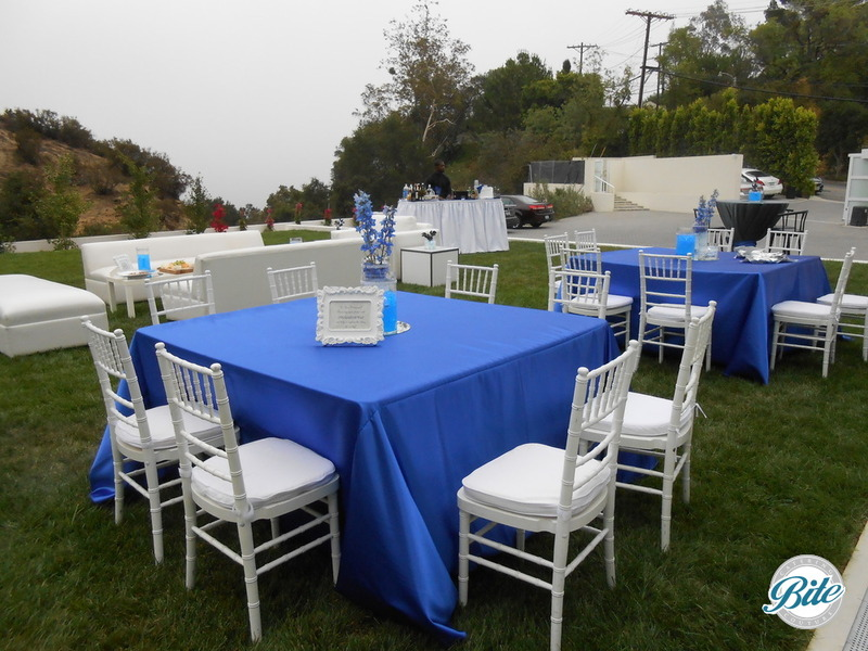 Outdoor dinner party set up with white chivari chairs, cobalt blue linens, and scenic views.