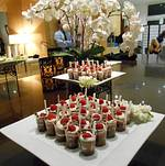 Dessert Display with Orchids Background