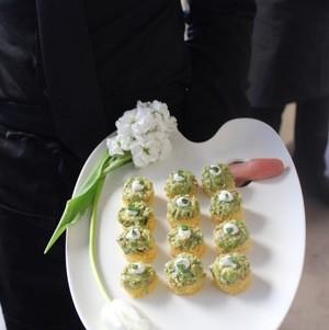 Cornbread Canapes On Tray