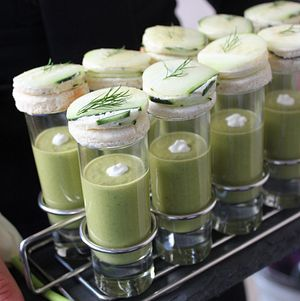 Sweet Pea Soup Shot with Cucumber Canape