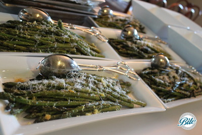 Roasted asparagus with shaved Parmesan, lemon and olive oil