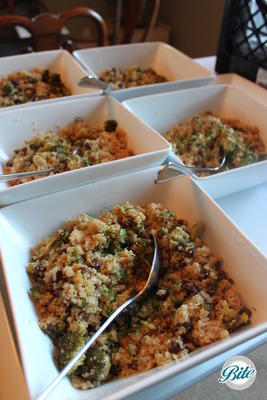 Quinoa served family style with green lentils, arugula, fresh herbs and red wine vinaigrette