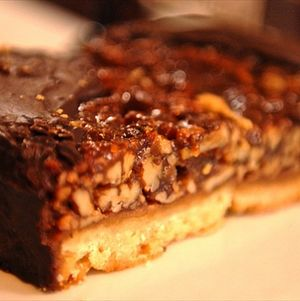 Decadent Pecan Shortbread Bars Dipping in Chocolate Ganache
