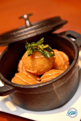 Seasonal vegetable croquettes with saffron aioli