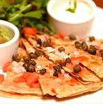Smoked salmon quesadilla with capers