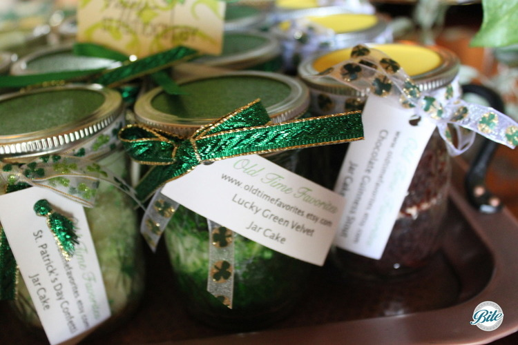 "An assortment of ""Old Time Favorite"" jar cake favors our client got for guests."