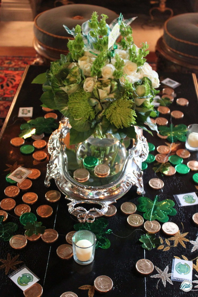 Centerpiece and table display for St. Patrick's day put together by client