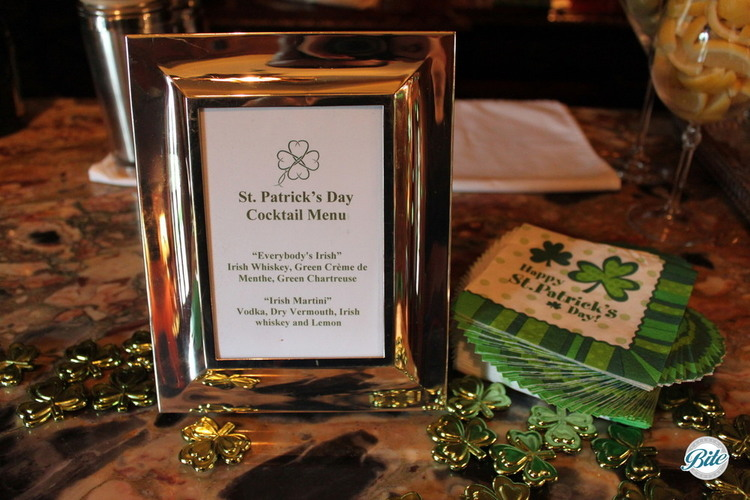 St. Patrick's Day styled cocktail menu also crafted by Executive Chef Elizabeth Goel.