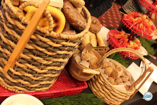 Buffet Display of Bagels and Muffins