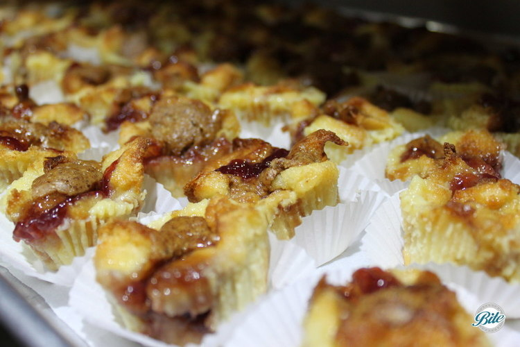 Almond butter and strawberry jelly bread pudding bites