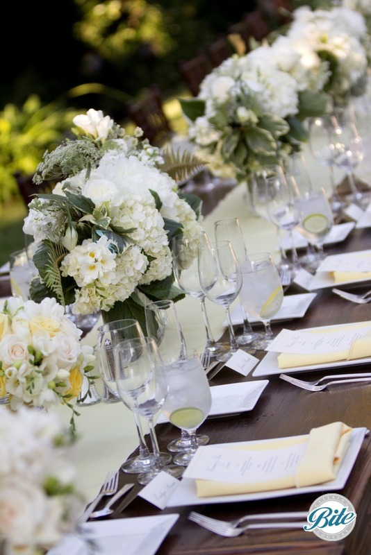 Seasonal White Summer Floral for a Family-Style Reception Dinner