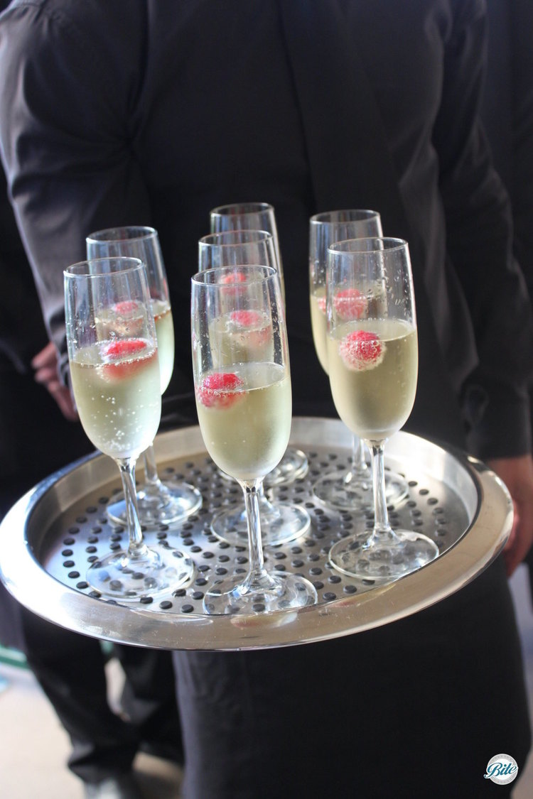 Tray - passed champagne with raspberry float