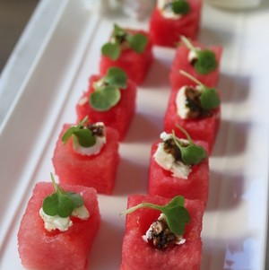 Watermelon Salad Cubes with Feta, Micro Arugula and Balsamic Reduction
