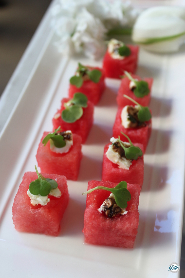 Tray passed watermelon salad cubes.  Great for summer!