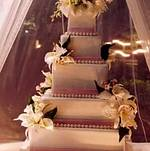 Gallery pink and pearl wedding cake with sugar flowers