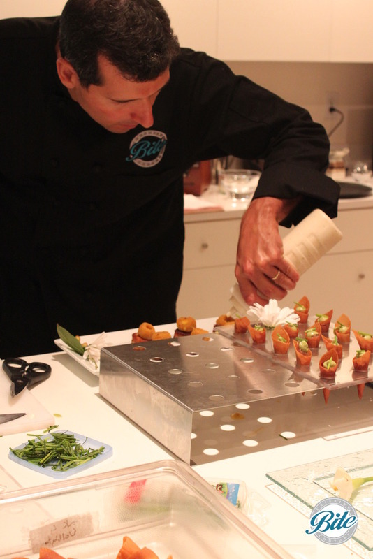 Chef plating ahi cornets