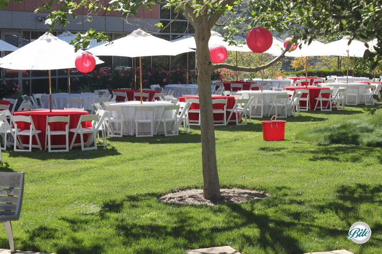 Tables set up outdoors on lawn for event