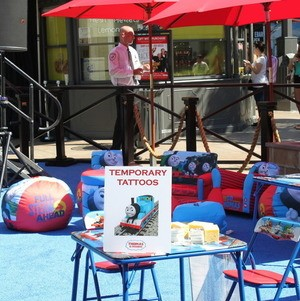 Kids lounge area at film premiere of Thomas the Train: King of the Railway at The Grove