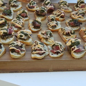 Marinated Flank Steak Crostini at the film premiere of Thomas the Train: King of the Railway at The Grove