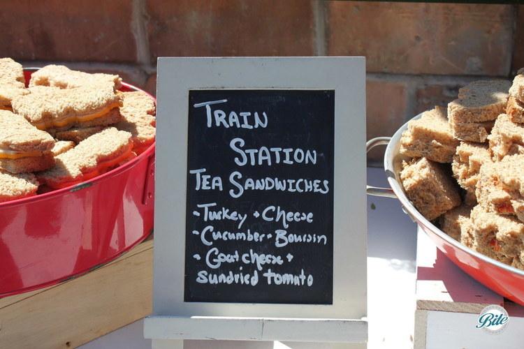 Chalkboard menu for train cut out tea sandwiches