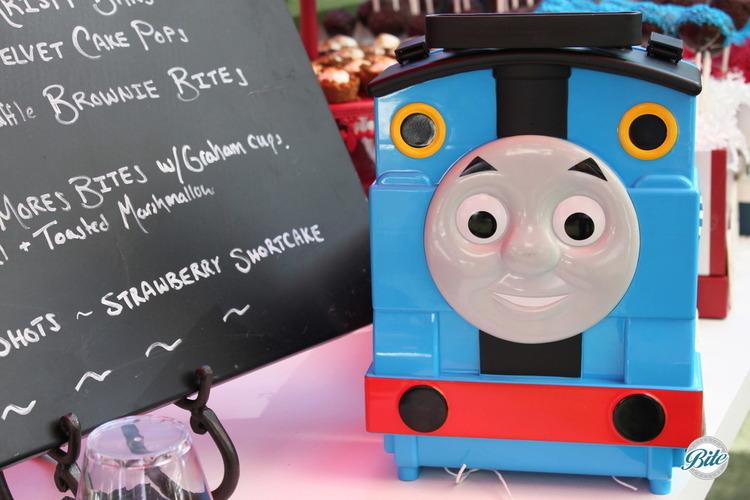 Thomas the train next to menu for event