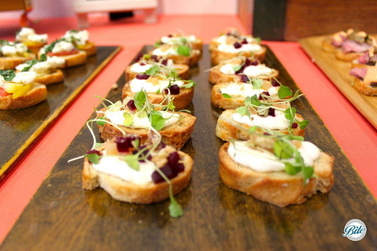 Beets, goat cheese on crostini
