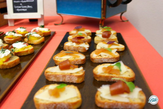 Spanish Manchego with Quince Paste Crostini for Funeral Menu at Torrance Cultural Arts Center