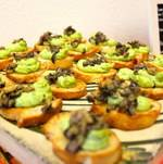 Edamame Hummus with Tapenade Crostini for Funeral Menu at Torrance Cultural Arts Center
