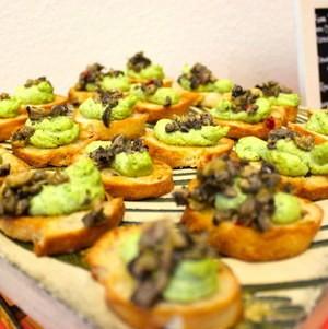Edamame Hummus with Tapenade Crostini for Funeral Menu at Torrance Cultural Arts Center