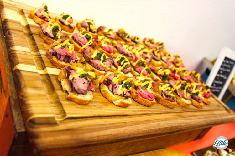 One of our most popular crostini's on wood display