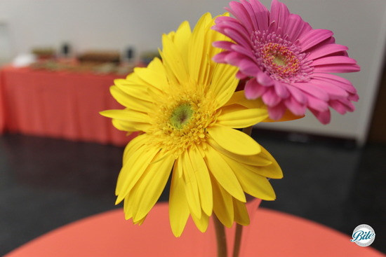 Daisy centerpieces on a table