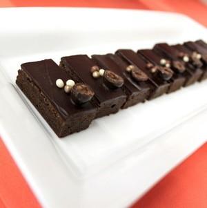 Chocolate truffle brownie on tray