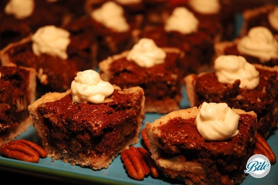 Passed mini pecan bites with fresh whipped cream and toasted pecans
