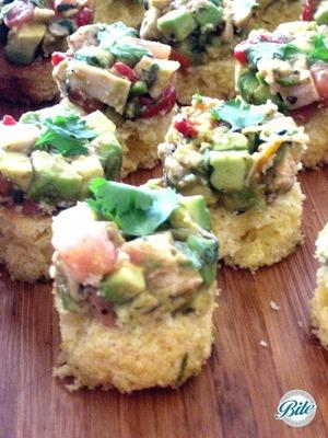 Delicious cornbread base with cilantro and avocado topping