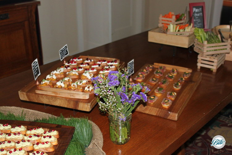 Assorted crostini bar including edamame hummus