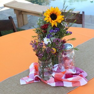 Backyard BBQ Party Sunflower Centerpieces