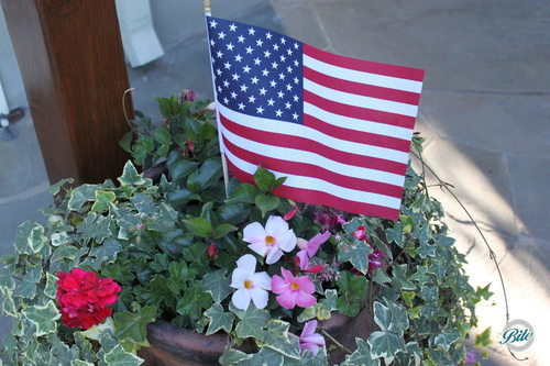 American flag in the planter to celebrate country