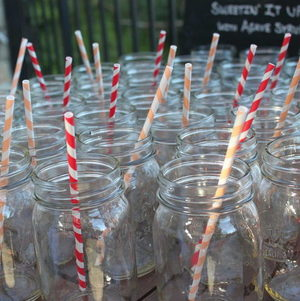 Backyard BBQ Party Mason Jars with Vintage Straws