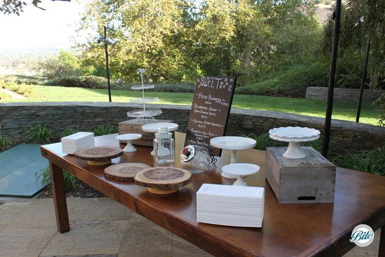 Dessert station being setup on company facility