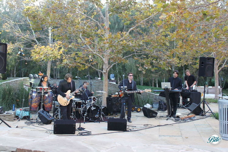Band playing live music outdoors under the trees