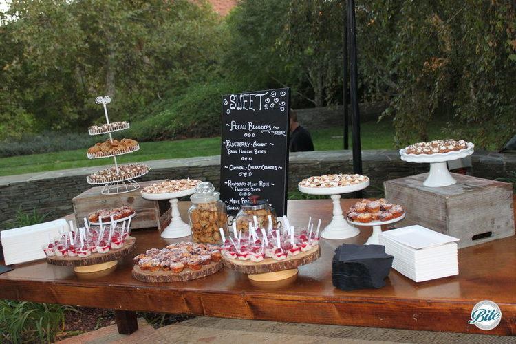 Dessert station on vintage/ rustic display outdoors
